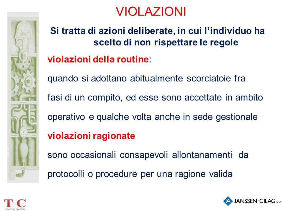 VIOLAZIONI Si tratta di azioni deliberate, in cui l'individuo ha scelto di non rispettare le regole violazioni della routine: quando si adottano abitu