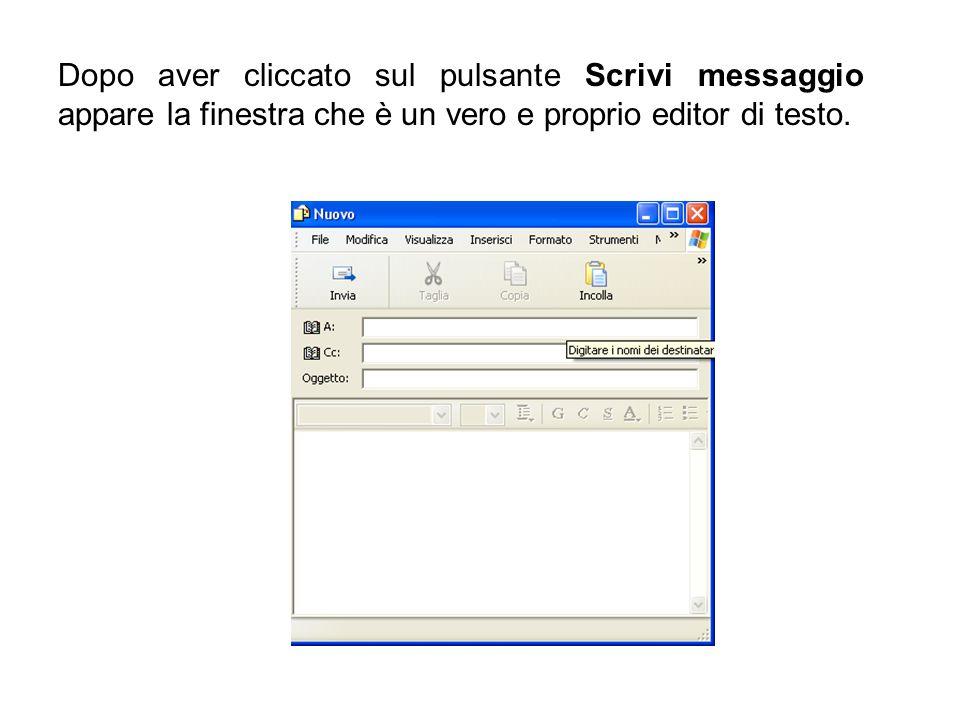 Dopo aver cliccato sul pulsante Scrivi messaggio appare la finestra che è un vero e proprio editor di testo.
