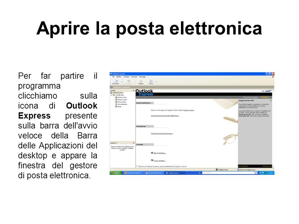 Aprire la posta elettronica Per far partire il programma clicchiamo sulla icona di Outlook Express presente sulla barra dell avvio veloce della Barra delle Applicazioni del desktop e appare la finestra del gestore di posta elettronica.