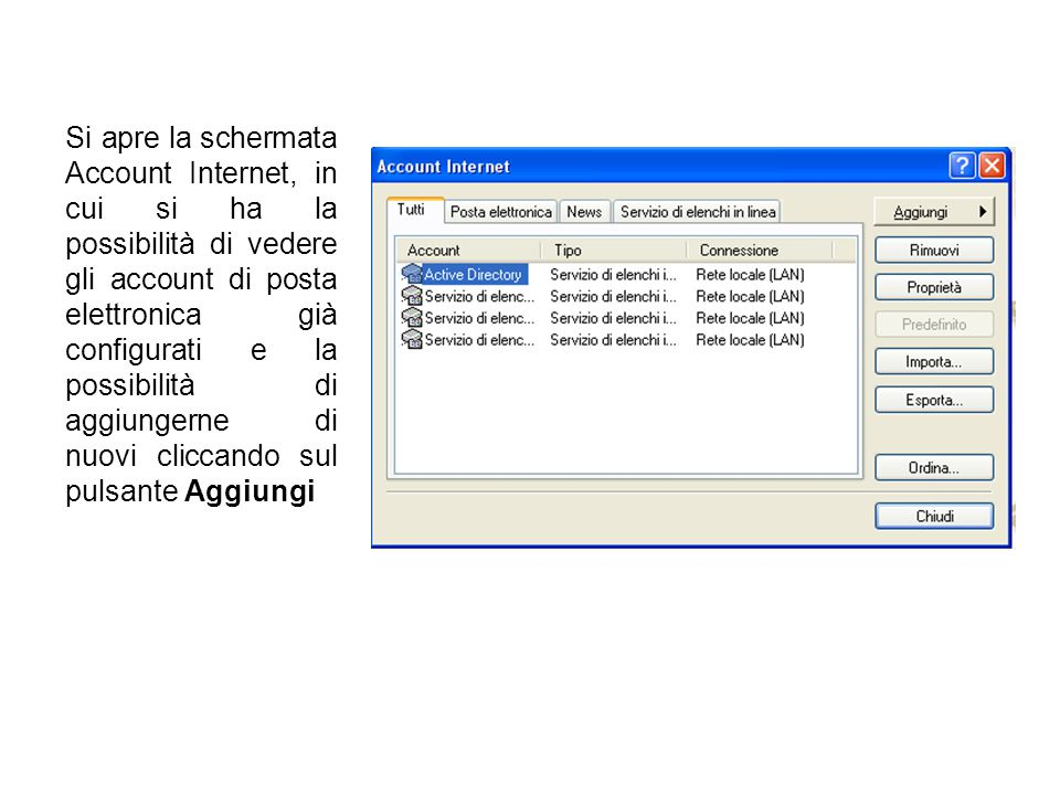 Si apre la schermata Account Internet, in cui si ha la possibilità di vedere gli account di posta elettronica già configurati e la possibilità di aggiungerne di nuovi cliccando sul pulsante Aggiungi