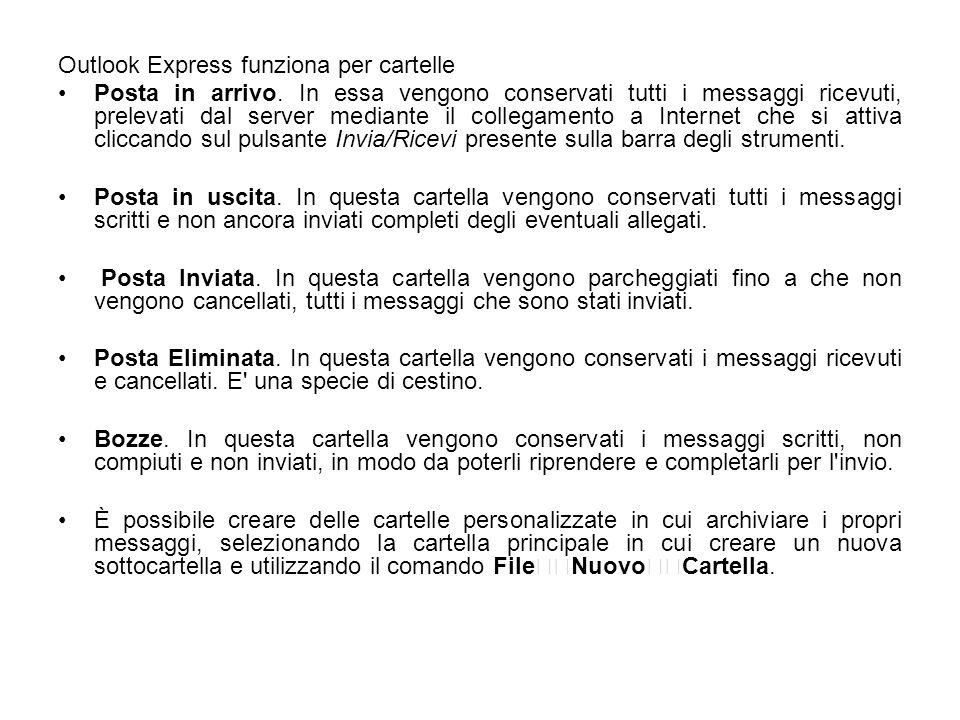 Outlook Express funziona per cartelle Posta in arrivo. In essa vengono conservati tutti i messaggi ricevuti, prelevati dal server mediante il collegam