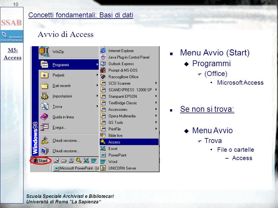 """Scuola Speciale Archivisti e Bibliotecari Università di Roma """"La Sapienza"""" Avvio di Access Concetti fondamentali: Basi di dati M5: Access 10 n Menu Av"""