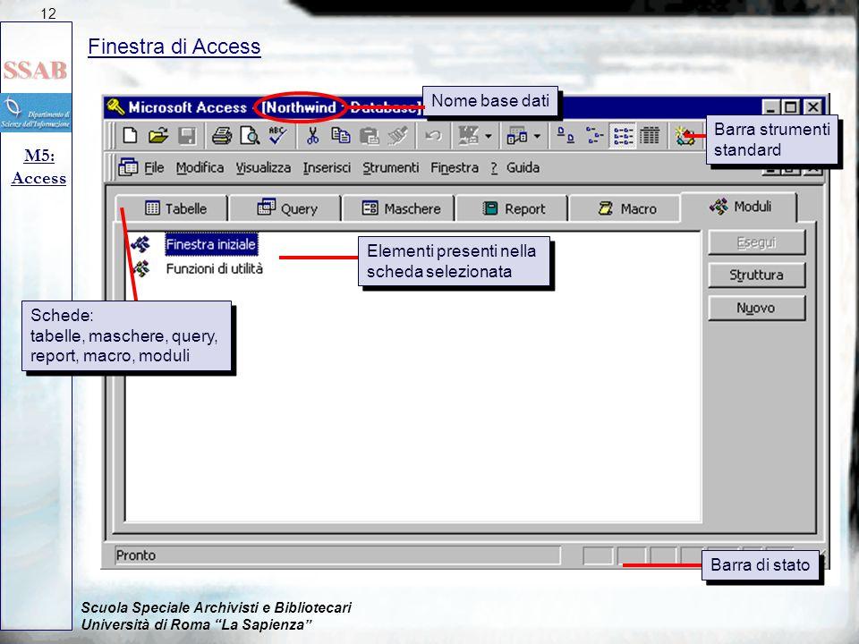 """Scuola Speciale Archivisti e Bibliotecari Università di Roma """"La Sapienza"""" Finestra di Access M5: Access 12 Nome base dati Barra strumenti standard Ba"""