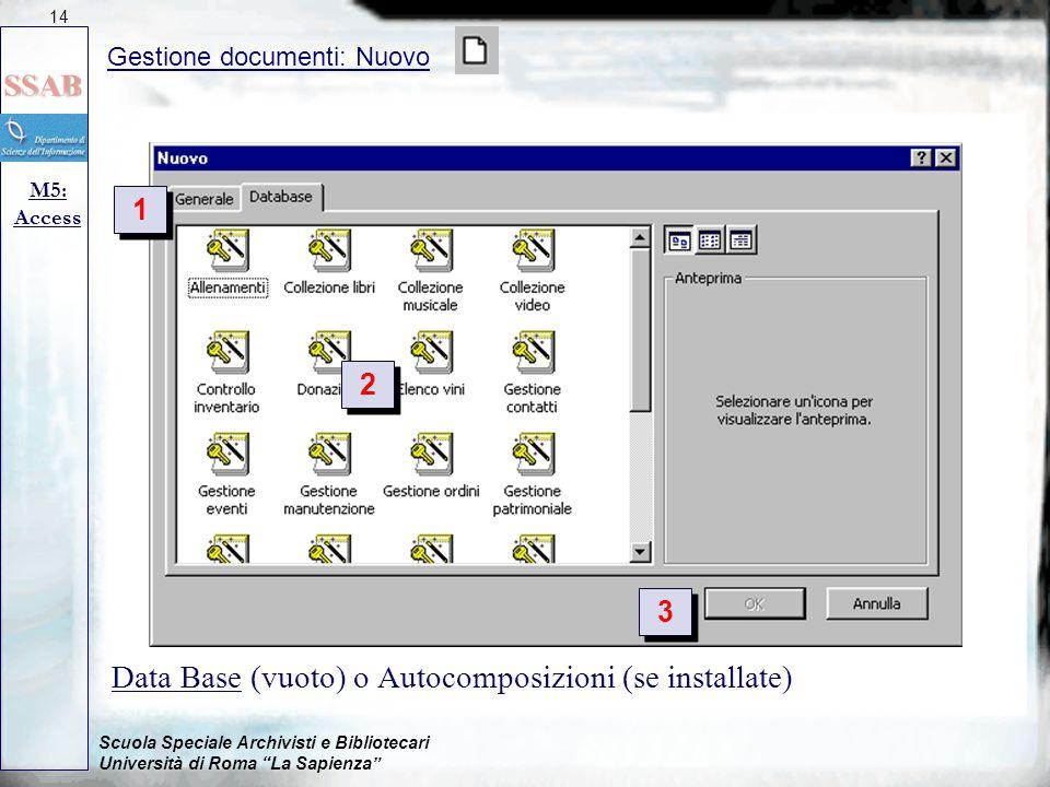 Scuola Speciale Archivisti e Bibliotecari Università di Roma La Sapienza Data Base (vuoto) o Autocomposizioni (se installate) Gestione documenti: Nuovo M5: Access 14 1 1 2 2 3 3