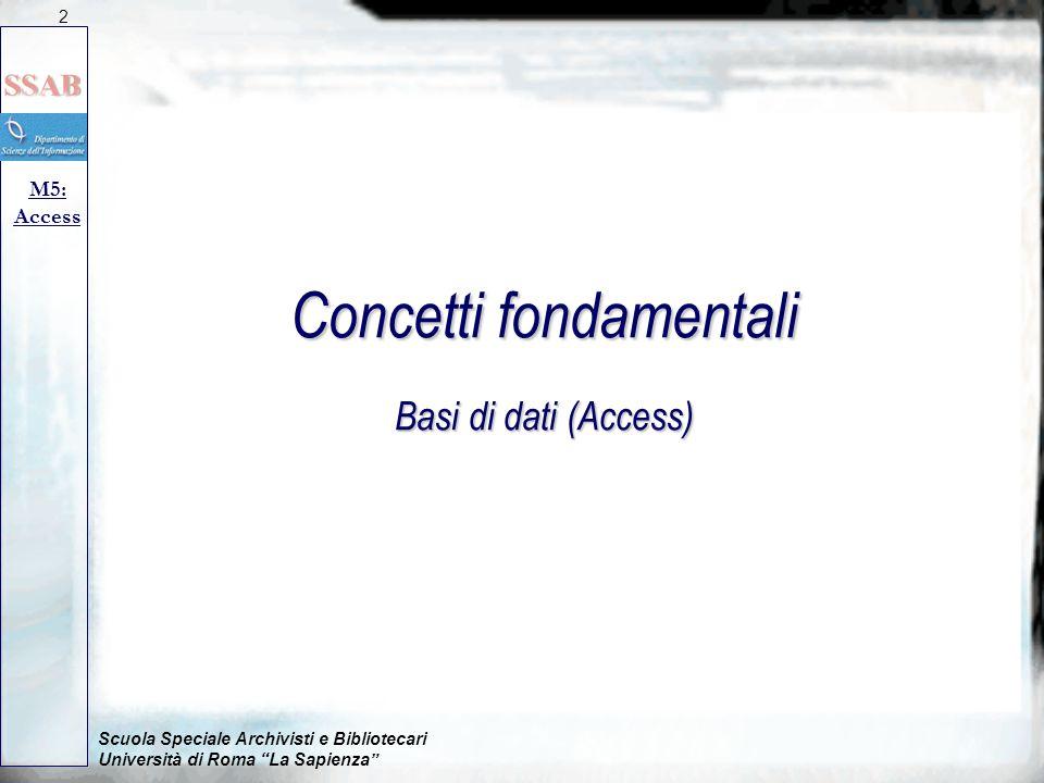 Scuola Speciale Archivisti e Bibliotecari Università di Roma La Sapienza M5: Access Concetti fondamentali Basi di dati (Access) 2