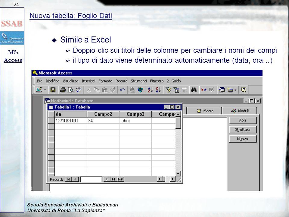 """Scuola Speciale Archivisti e Bibliotecari Università di Roma """"La Sapienza"""" Nuova tabella: Foglio Dati M5: Access 24 u Simile a Excel F Doppio clic sui"""