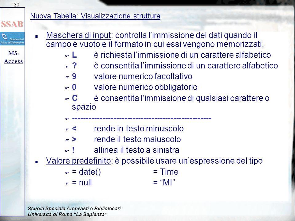 Scuola Speciale Archivisti e Bibliotecari Università di Roma La Sapienza Nuova Tabella: Visualizzazione struttura M5: Access 30 n Maschera di input: controlla l'immissione dei dati quando il campo è vuoto e il formato in cui essi vengono memorizzati.
