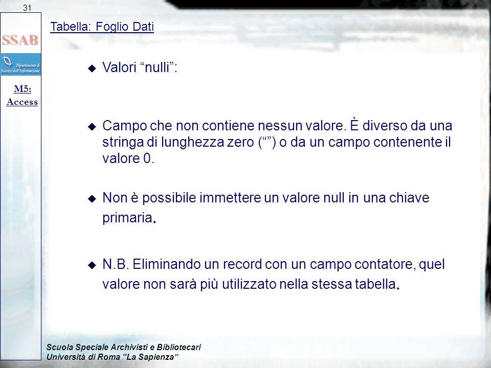 Scuola Speciale Archivisti e Bibliotecari Università di Roma La Sapienza Tabella: Foglio Dati M5: Access 31 u Valori nulli : u Campo che non contiene nessun valore.