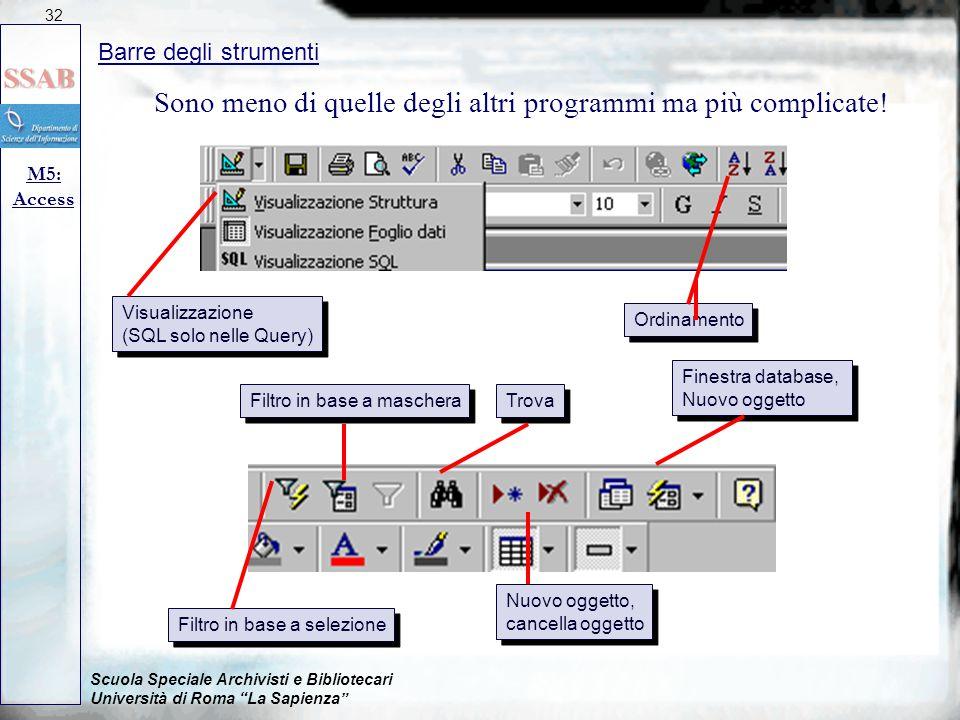 Scuola Speciale Archivisti e Bibliotecari Università di Roma La Sapienza Barre degli strumenti M5: Access 32 Sono meno di quelle degli altri programmi ma più complicate.