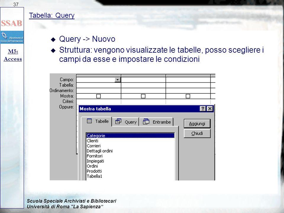 """Scuola Speciale Archivisti e Bibliotecari Università di Roma """"La Sapienza"""" Tabella: Query M5: Access 37 u Query -> Nuovo u Struttura: vengono visualiz"""