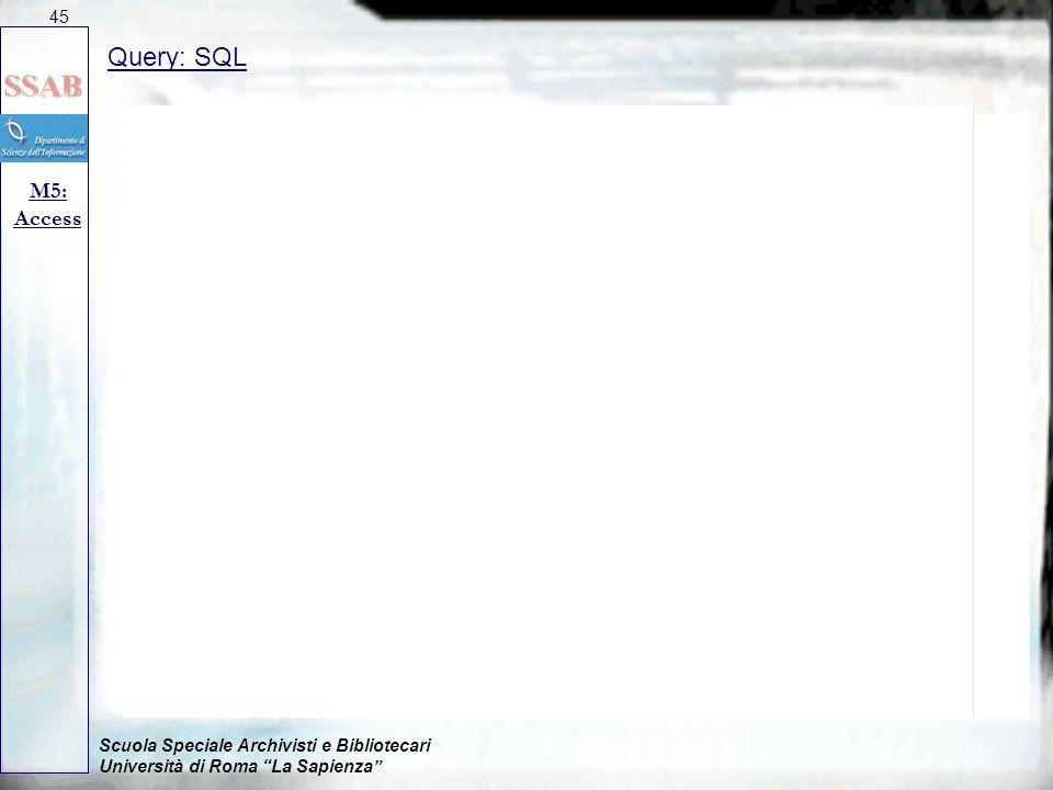 """Scuola Speciale Archivisti e Bibliotecari Università di Roma """"La Sapienza"""" Query: SQL M5: Access 45"""