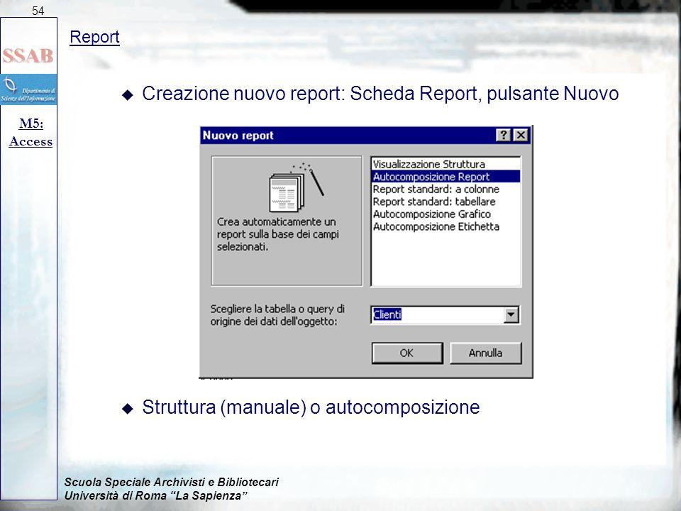 """Scuola Speciale Archivisti e Bibliotecari Università di Roma """"La Sapienza"""" Report M5: Access 54 u Creazione nuovo report: Scheda Report, pulsante Nuov"""