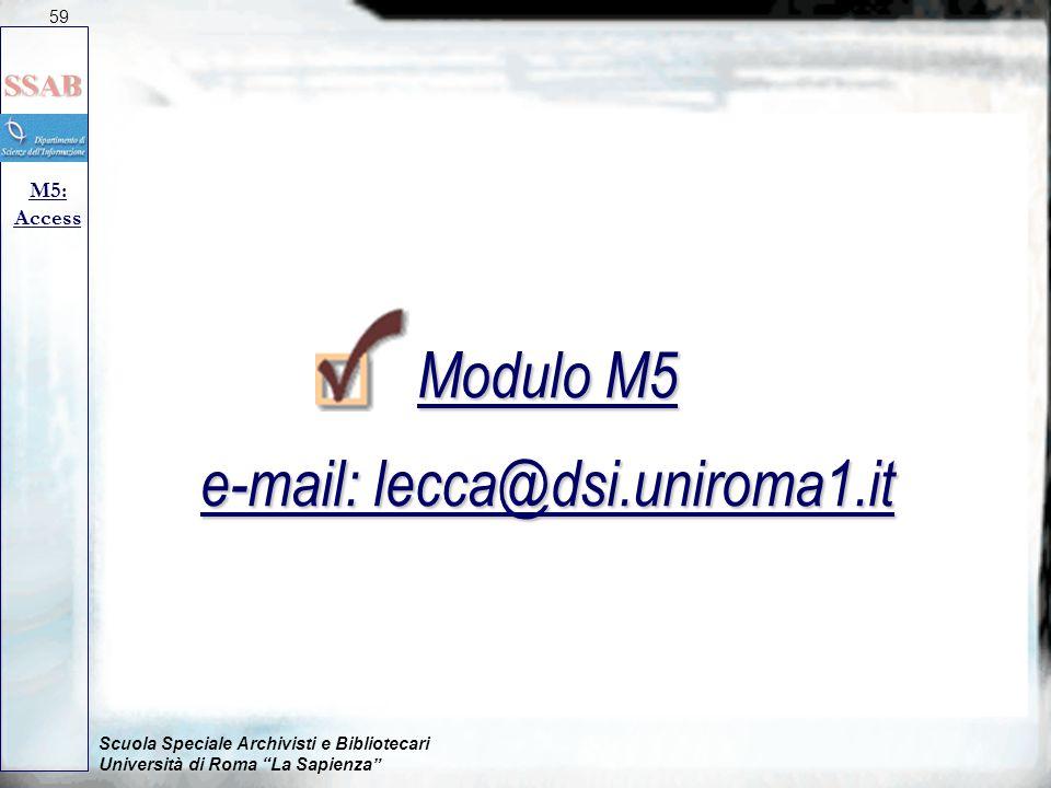 Scuola Speciale Archivisti e Bibliotecari Università di Roma La Sapienza M5: Access Modulo M5 e-mail: lecca@dsi.uniroma1.it 59