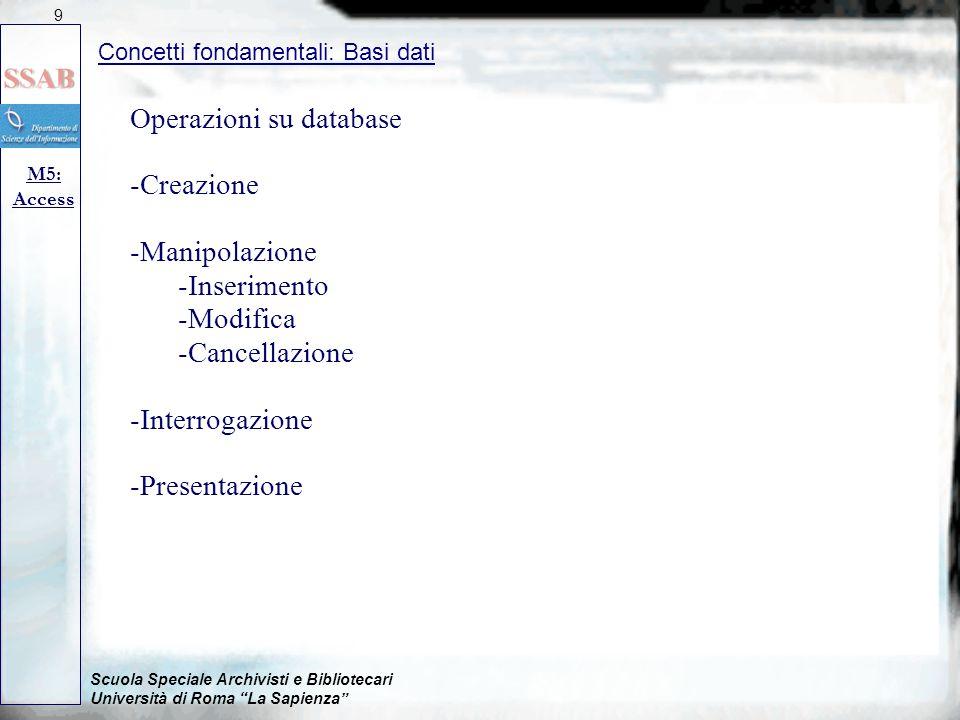 Scuola Speciale Archivisti e Bibliotecari Università di Roma La Sapienza Operazioni su database -Creazione -Manipolazione -Inserimento -Modifica -Cancellazione -Interrogazione -Presentazione Concetti fondamentali: Basi dati M5: Access 9