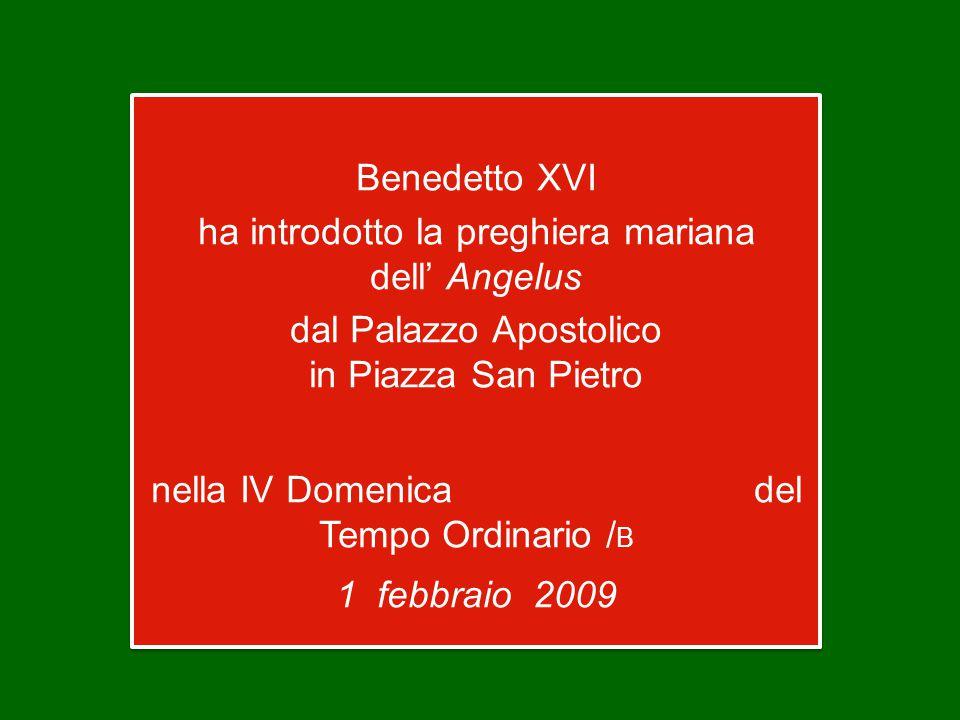 Benedetto XVI ha introdotto la preghiera mariana dell' Angelus dal Palazzo Apostolico in Piazza San Pietro nella IV Domenica del Tempo Ordinario / B 1 febbraio 2009 Benedetto XVI ha introdotto la preghiera mariana dell' Angelus dal Palazzo Apostolico in Piazza San Pietro nella IV Domenica del Tempo Ordinario / B 1 febbraio 2009