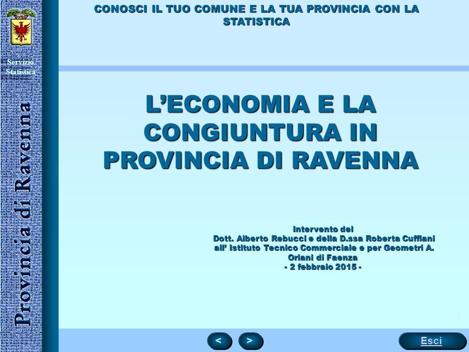 Servizio Statistica 1 Esci < < > > CONOSCI IL TUO COMUNE E LA TUA PROVINCIA CON LA STATISTICA L'ECONOMIA E LA CONGIUNTURA IN PROVINCIA DI RAVENNA Intervento del Dott.