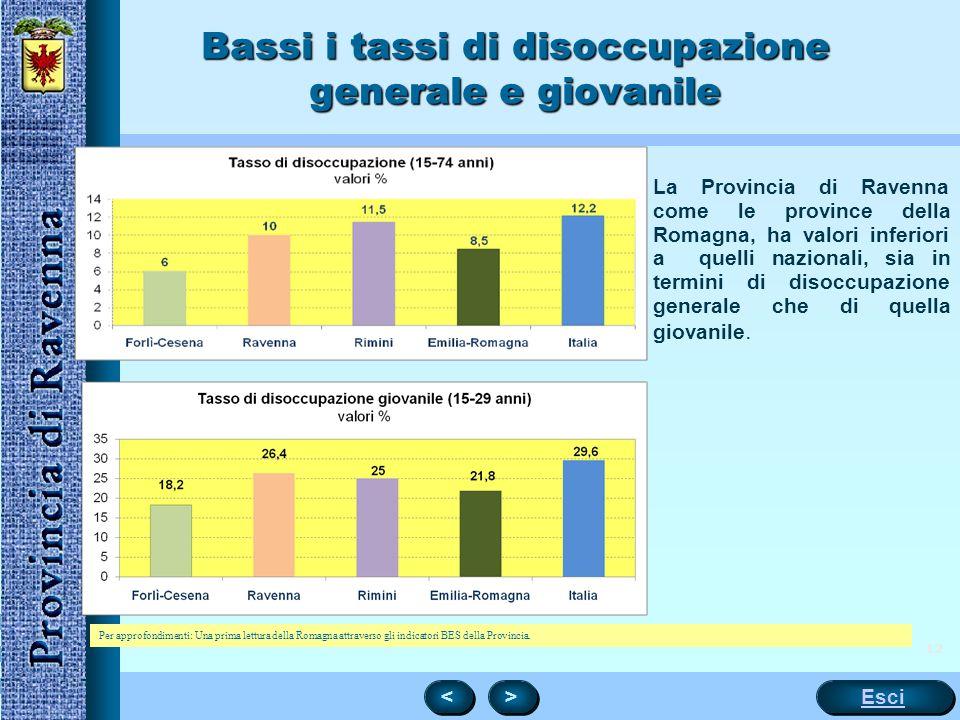 12 La Provincia di Ravenna come le province della Romagna, ha valori inferiori a quelli nazionali, sia in termini di disoccupazione generale che di qu