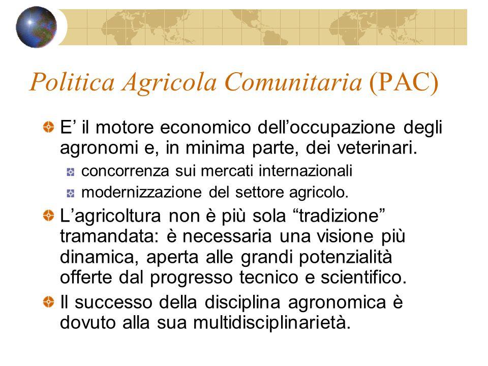 Politica Agricola Comunitaria (PAC) E' il motore economico dell'occupazione degli agronomi e, in minima parte, dei veterinari.
