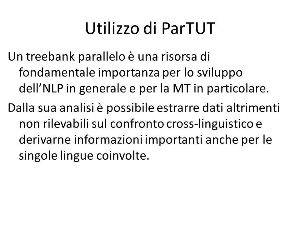 Utilizzo di ParTUT Un treebank parallelo è una risorsa di fondamentale importanza per lo sviluppo dell'NLP in generale e per la MT in particolare.