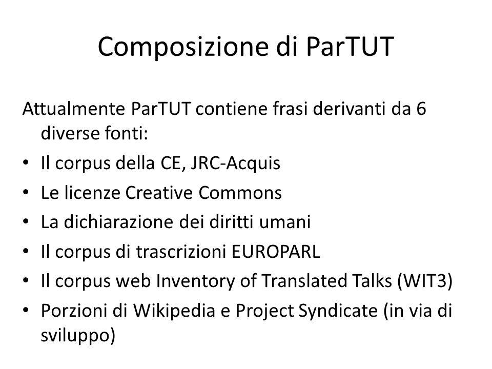 Utilizzo di ParTUT Per poter parlare di allineamento sintattico, occorre aver affrontato i task ad esso preliminari: Allineamento per paragrafi Allineamento per frasi Allineamento per parole Allineamento per strutture sintattiche