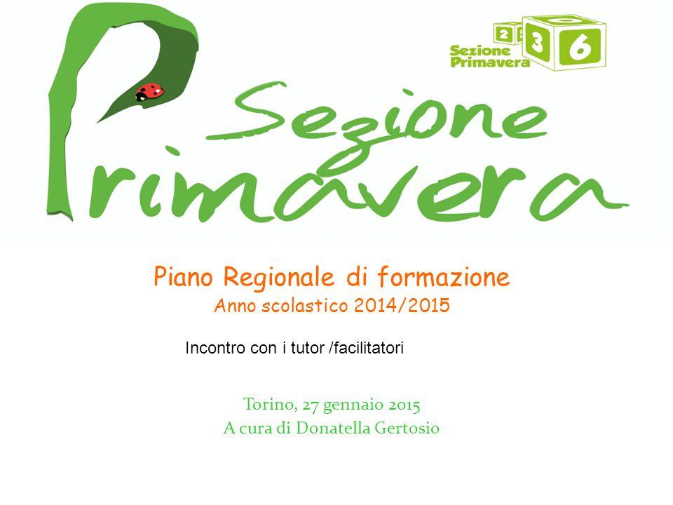Piano Regionale di formazione Anno scolastico 2014/2015 Torino, 27 gennaio 2015 A cura di Donatella Gertosio Incontro con i tutor /facilitatori