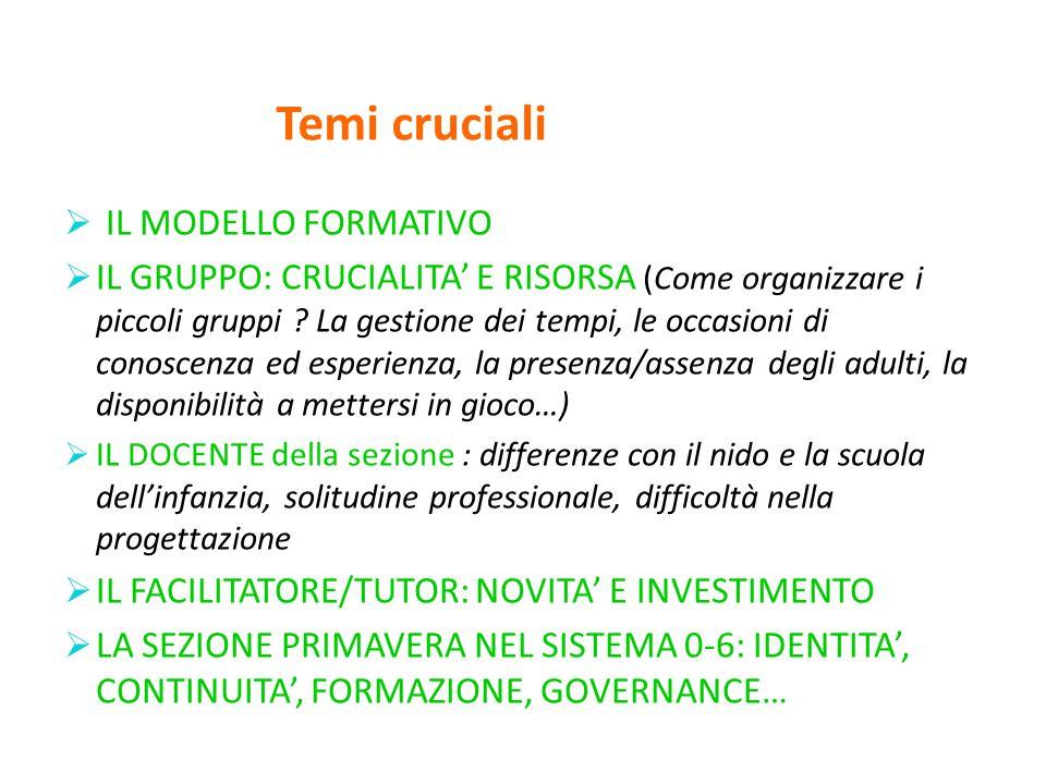 Temi cruciali  IL MODELLO FORMATIVO  IL GRUPPO: CRUCIALITA' E RISORSA (Come organizzare i piccoli gruppi .