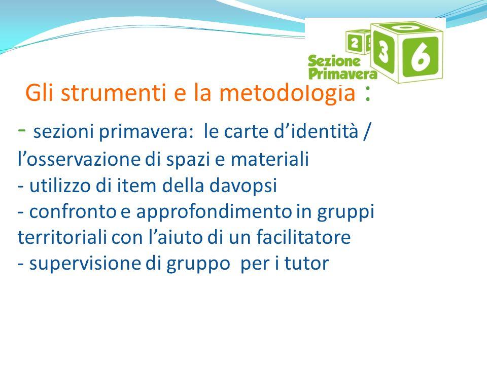 Gli strumenti e la metodologia : - sezioni primavera: le carte d'identità / l'osservazione di spazi e materiali - utilizzo di item della davopsi - con
