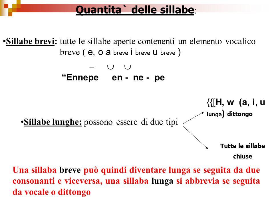 """Quantita` delle sillabe : Sillabe brevi: tutte le sillabe aperte contenenti un elemento vocalico breve ( e, o a breve i breve u breve )    """"Ennepe"""