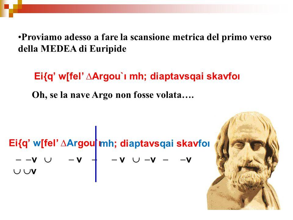 Proviamo adesso a fare la scansione metrica del primo verso della MEDEA di Euripide Ei{q' w[fel' ∆Argou`ı mh; diaptavsqai skavfoı Oh, se la nave Argo