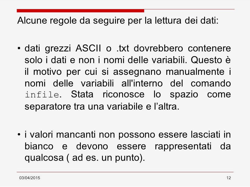 03/04/201512 Alcune regole da seguire per la lettura dei dati: dati grezzi ASCII o.txt dovrebbero contenere solo i dati e non i nomi delle variabili.
