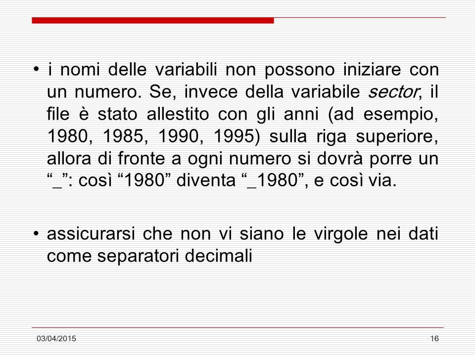 03/04/201516 i nomi delle variabili non possono iniziare con un numero. Se, invece della variabile sector, il file è stato allestito con gli anni (ad