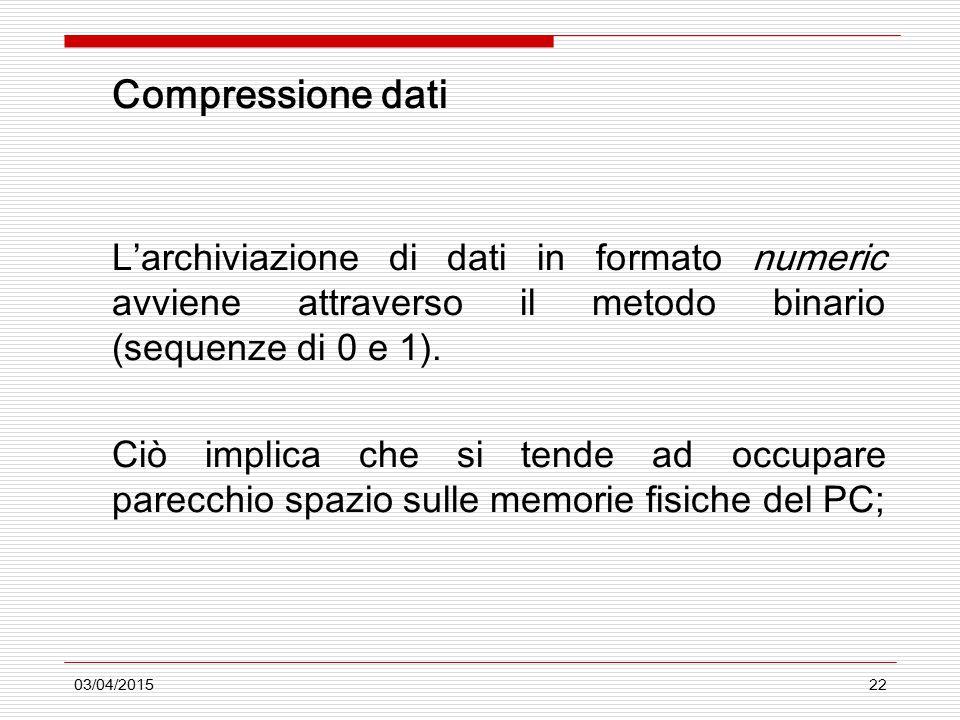 03/04/201522 Compressione dati L'archiviazione di dati in formato numeric avviene attraverso il metodo binario (sequenze di 0 e 1). Ciò implica che si