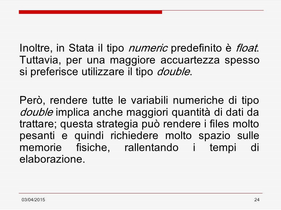 03/04/201524 Inoltre, in Stata il tipo numeric predefinito è float. Tuttavia, per una maggiore accuartezza spesso si preferisce utilizzare il tipo dou