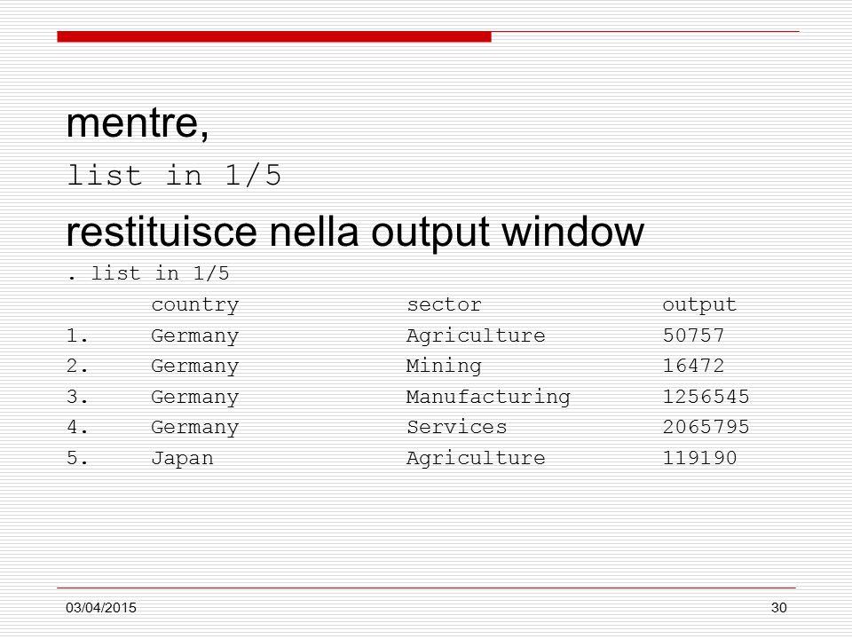 03/04/201530 mentre, list in 1/5 restituisce nella output window.