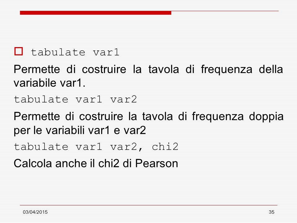 03/04/201535  tabulate var1 Permette di costruire la tavola di frequenza della variabile var1. tabulate var1 var2 Permette di costruire la tavola di