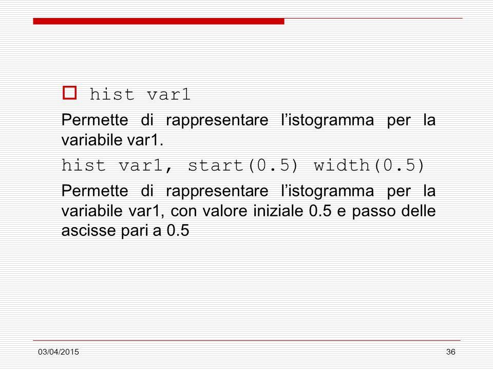 03/04/201536  hist var1 Permette di rappresentare l'istogramma per la variabile var1. hist var1, start(0.5) width(0.5) Permette di rappresentare l'is