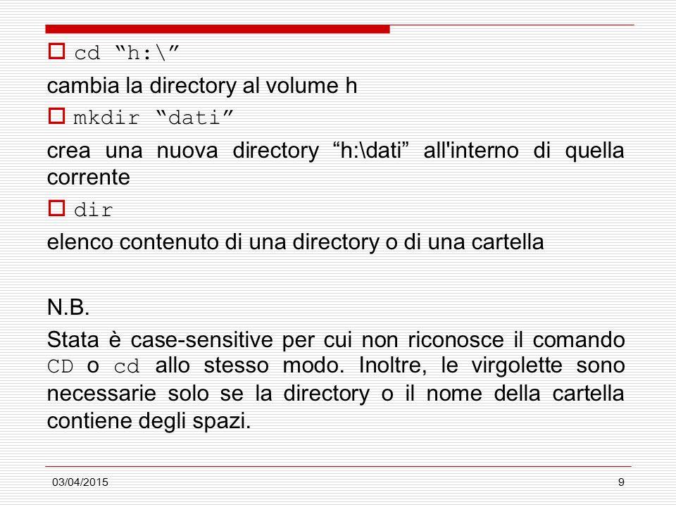 03/04/20159  cd h:\ cambia la directory al volume h  mkdir dati crea una nuova directory h:\dati all interno di quella corrente  dir elenco contenuto di una directory o di una cartella N.B.