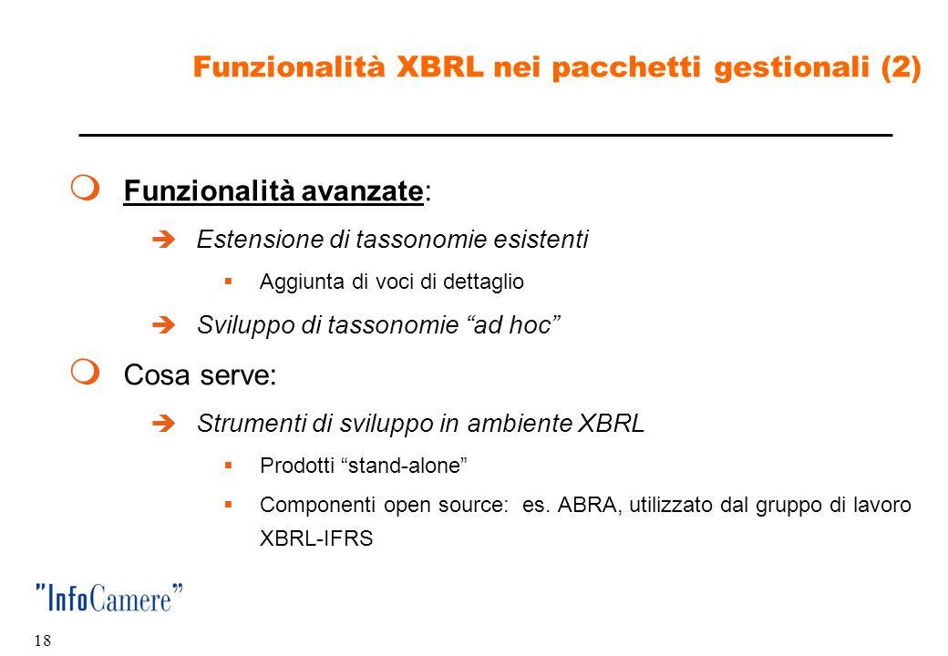 17 Funzionalità XBRL nei pacchetti gestionali (1)  Funzionalità base:  Produzione di istanze di documenti XBRL  Cosa serve:  Importazione delle ta