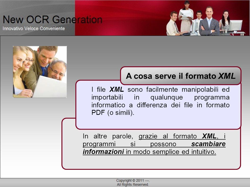 Successivamente i dati in formato XML possono essere agevolmente importati in qualsiasi software di destinazione.