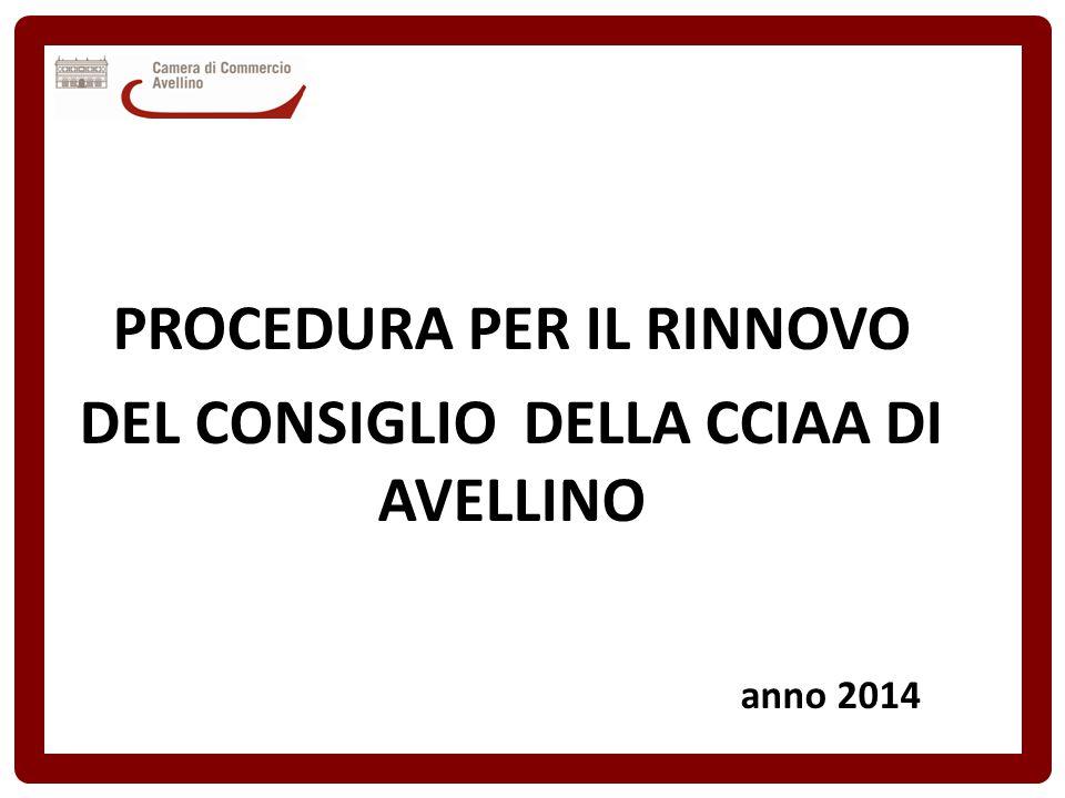 PROCEDURA PER IL RINNOVO DEL CONSIGLIO DELLA CCIAA DI AVELLINO anno 2014