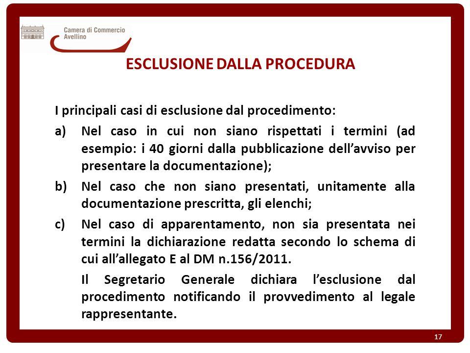 ESCLUSIONE DALLA PROCEDURA I principali casi di esclusione dal procedimento: a)Nel caso in cui non siano rispettati i termini (ad esempio: i 40 giorni