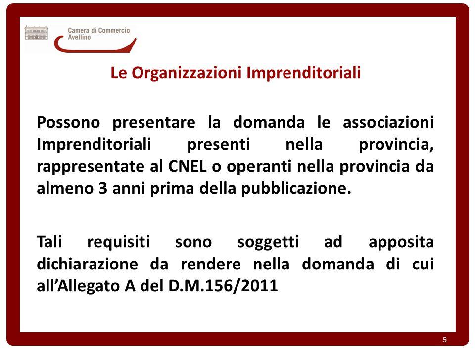 Le Organizzazioni Imprenditoriali Possono presentare la domanda le associazioni Imprenditoriali presenti nella provincia, rappresentate al CNEL o oper