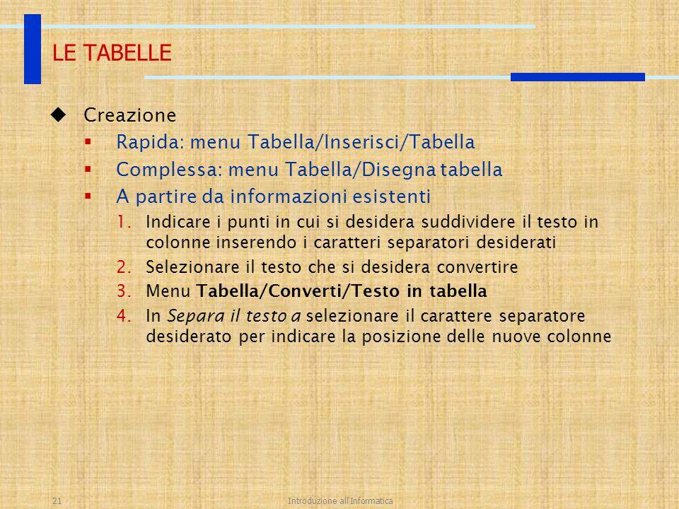 Introduzione all'Informatica21  Creazione  Rapida: menu Tabella/Inserisci/Tabella  Complessa: menu Tabella/Disegna tabella  A partire da informazi