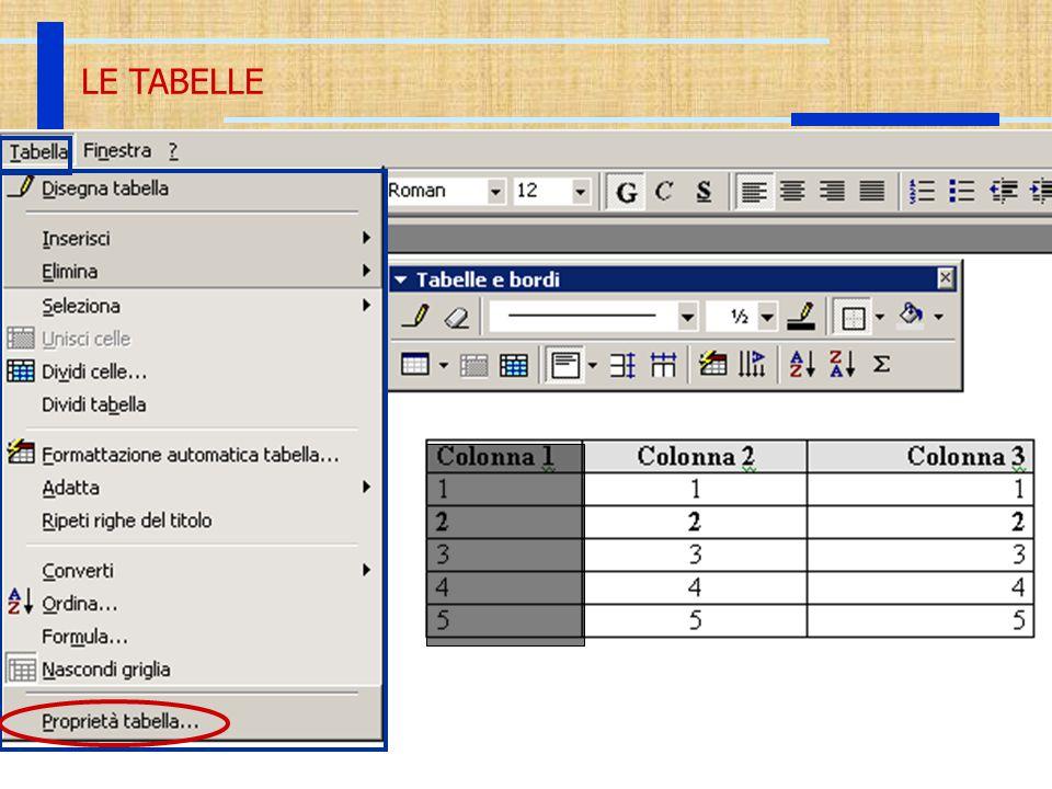 20 Ott 2003Introduzione all'Informatica24 LE TABELLE