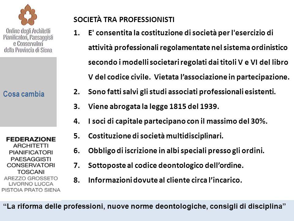 Cosa cambia SOCIETÀ TRA PROFESSIONISTI 1.E' consentita la costituzione di società per l'esercizio di attività professionali regolamentate nel sistema