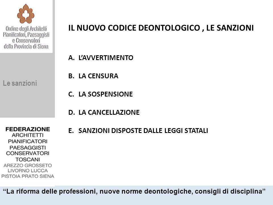 Le sanzioni IL NUOVO CODICE DEONTOLOGICO, LE SANZIONI A.L'AVVERTIMENTO B.LA CENSURA C.LA SOSPENSIONE D.LA CANCELLAZIONE E.SANZIONI DISPOSTE DALLE LEGG