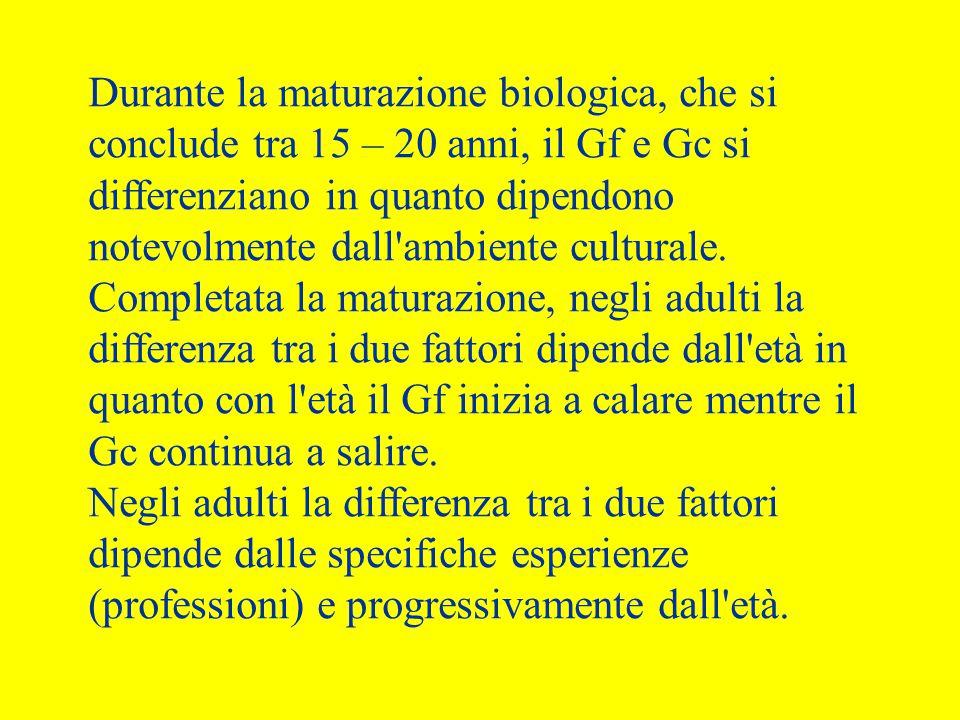 Durante la maturazione biologica, che si conclude tra 15 – 20 anni, il Gf e Gc si differenziano in quanto dipendono notevolmente dall'ambiente cultura