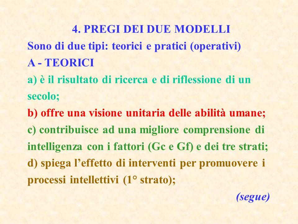 4. PREGI DEI DUE MODELLI Sono di due tipi: teorici e pratici (operativi) A - TEORICI a) è il risultato di ricerca e di riflessione di un secolo; b) of