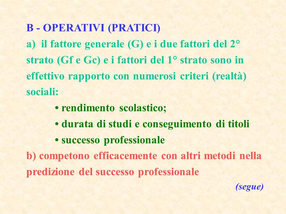 B - OPERATIVI (PRATICI) a) il fattore generale (G) e i due fattori del 2° strato (Gf e Gc) e i fattori del 1° strato sono in effettivo rapporto con nu