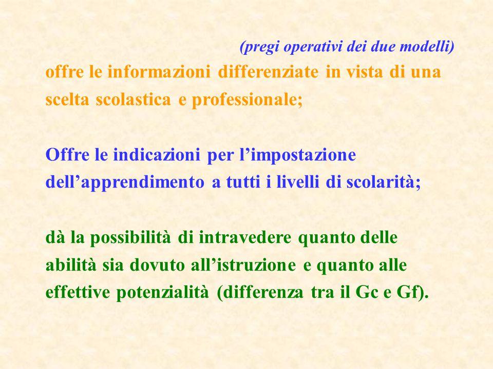 (pregi operativi dei due modelli) offre le informazioni differenziate in vista di una scelta scolastica e professionale; Offre le indicazioni per l'im
